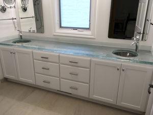 glass vanity top / custom / recycled / backlit