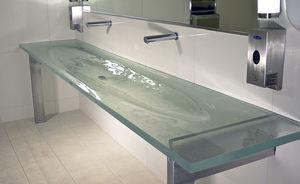 double vanity top / glass / custom / recycled