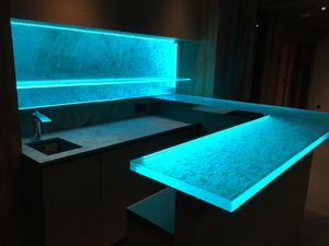 bar counter / kitchen / glass / U-shaped