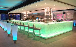 bar counter / glass / L-shaped / illuminated