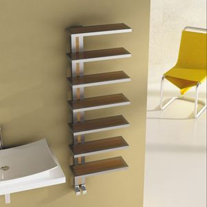 hot water towel radiator / electric / stainless steel / wooden