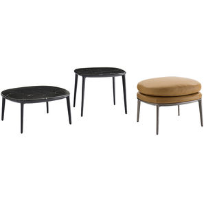 contemporary stool / leather / aluminum / upholstered