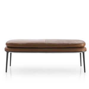 contemporary upholstered bench / fabric / leather / cast aluminum