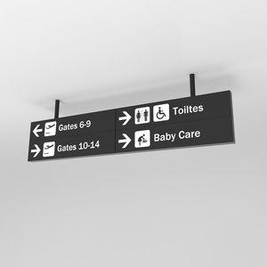 orientation signage plate / tourist / hanging / ceiling