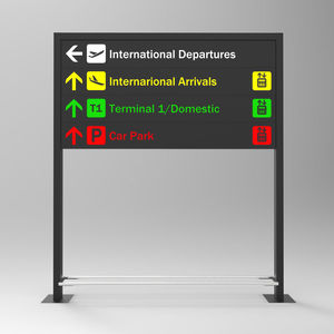 orientation signage plate / floor-mounted / aluminum / double-sided