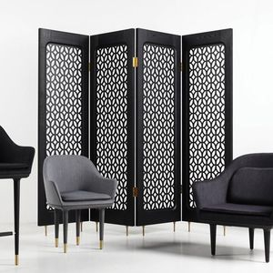 contemporary screen / MDF / solid wood / stainless steel