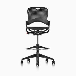 fabric task stool / on casters / upholstered / swivel