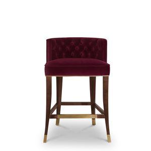contemporary bar chair / upholstered / velvet / ash