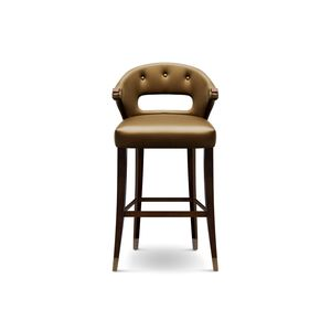 contemporary bar chair / upholstered / with armrests / ash