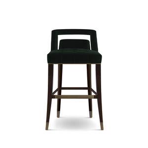 contemporary bar chair / upholstered / velvet / cotton
