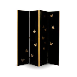 contemporary screen / lacquered wood / fabric