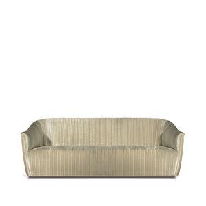 traditional sofa / velvet / brass / 2-person