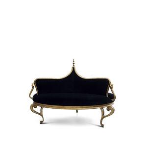 classic sofa / velvet / wood with gold leaf finish / black