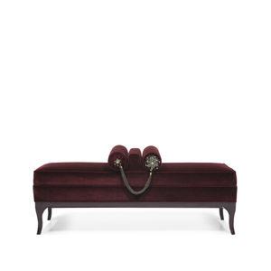 traditional upholstered bench / velvet / lacquered wood