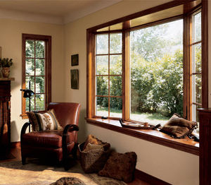 casement window / wooden / bow