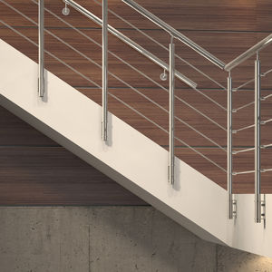 stainless steel railing / glass panel / with bars / indoor