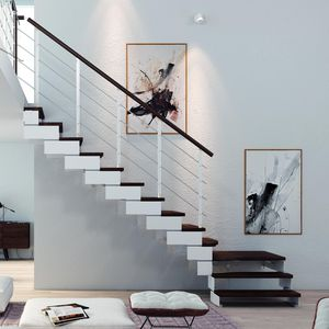 straight staircase / quarter-turn / steel frame / wooden steps