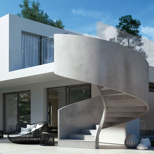 helical staircase / concrete frame / concrete steps / with risers