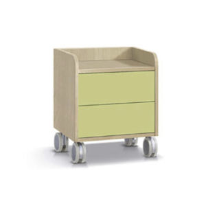 contemporary bedside table / painted metal / melamine / rectangular