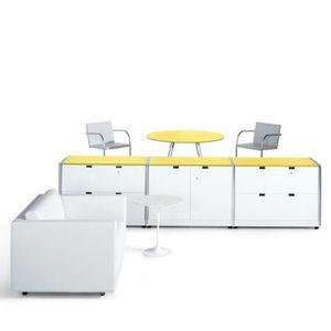 low filing cabinet / wood veneer / steel / aluminum