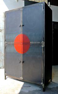 industrial design wardrobe / steel / with swing doors / custom