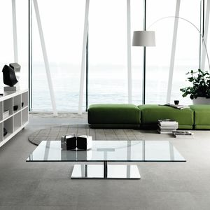 contemporary coffee table / glass / chromed metal / rectangular