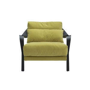 contemporary armchair / fabric / beech / aluminium