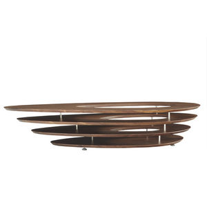 contemporary coffee table / walnut / lacquered MDF / chrome steel