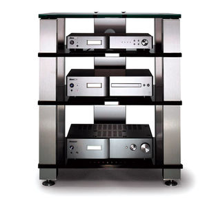 contemporary hi-fi cabinet / aluminium / glass