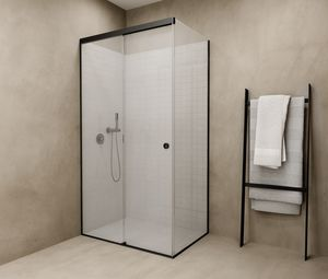 glass shower / corner / with sliding door / commercial