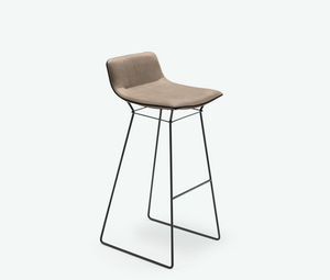 contemporary stool / leather / fabric / stainless steel