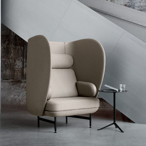 contemporary armchair / fabric / powder-coated steel / high back