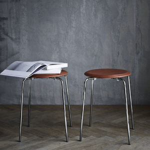 contemporary stool / leather / powder-coated steel / by Arne Jacobsen