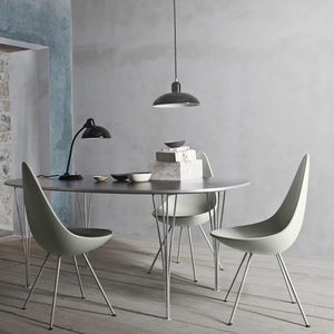 Scandinavian design chair / upholstered / fabric / leather