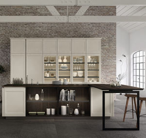 contemporary kitchen / wooden / glass / lacquered aluminum