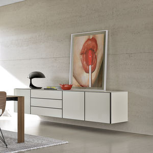 wall-mounted sideboard / contemporary / lacquered wood / oak