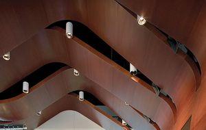 false ceiling acoustic panel / wooden / curved / for public buildings