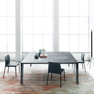 contemporary table / metal / ceramic / metal base