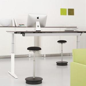 fabric task stool / upholstered / adjustable / red