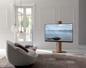 contemporary TV stand / swivel / wooden