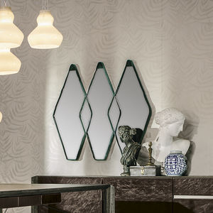 wall-mounted mirror / contemporary / lozenge / velvet