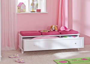 contemporary upholstered bench / wooden / with storage compartment / child's unisex
