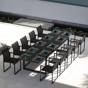 contemporary dining table / teak / glass / powder-coated steel