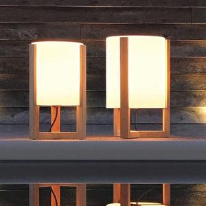 floor lamp / contemporary / glass / teak