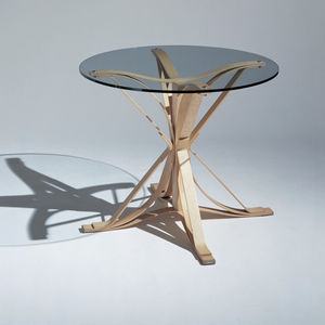 contemporary table / bentwood / tempered glass / laminate