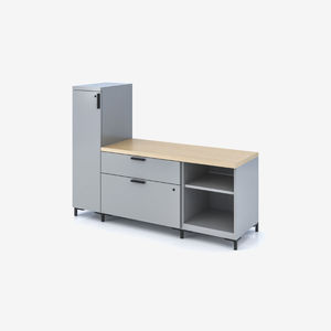 low filing cabinet / metal / with hinged door / with drawers