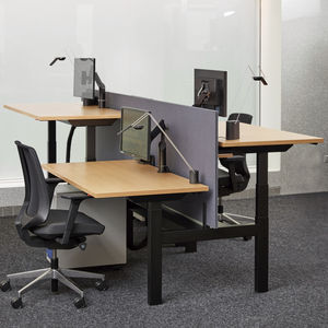 workstation desk / wood veneer / laminate / metal