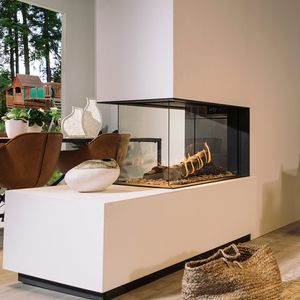 closed gas hearth / 3-sided / steel
