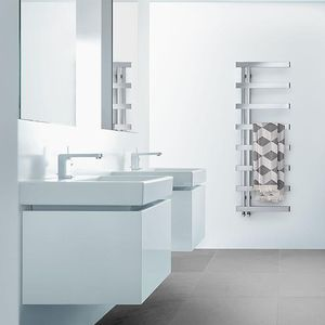 hot water towel radiator / electric / stainless steel / chrome