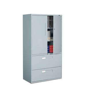 tall filing cabinet / metal / with hinged door / with drawers